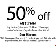 free tableside guacamole with purchase of 2 entrees off main menu and 2 beverages. With this coupon. Dine in only. 1 per table, per visit. Not valid with any other offers. Not valid on holidays. Expires 3/7/14.