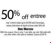 50% off entree. Buy 1 entree (value up to $10.99) and 2 beverages,  receive 2nd entree of equal or lesser value 50% off. With this coupon. Dine in only. 1 per table, per visit. Not valid with any other offers. Not valid on holidays. Expires 6/20/14.