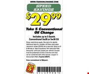 Conventional oil change for $29.99.