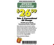 Conventional oil change for $26.99.