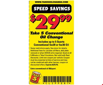 $29.99 Conventional Oil Change