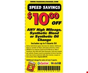 $10 Off Any High Milage, Synthetic Blend or Synthetic Oil