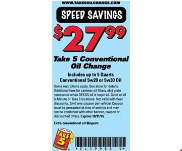 $27.99 Conventional Oil Change
