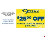 $25 off complete brake service per axle