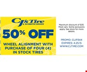 50% off wheele alignment