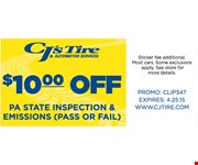 $10 off PA state inspection