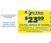 $23.99 full service oil change