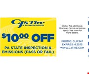 $10 Off Pa State Inspection & Emissions