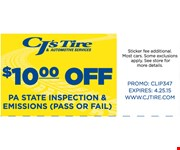 $10.00 off Pa State Inspection and Emissions
