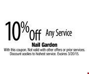10% Off Any Service. With this coupon. Not valid with other offers or prior services. Discount applies to highest service. Expires 3/20/15.