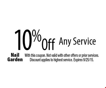 10% Off Any Service With this coupon. Not valid with other offers or prior services. Discount applies to highest service. Expires 9/25/15.