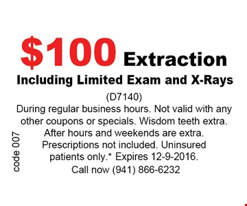 $100 Extraction. Including limited exam and x-rays. During regular business hours. Not valid with any other coupons or specials. Wisdom teeeth extra. After hours and weekends are extra. Prescriptions not included. Uninsured patients only. Expires 12-9-16. D7140