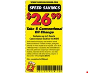 $26.99 Conventional Oil Change