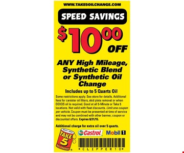 $10 off Synthetic Blend