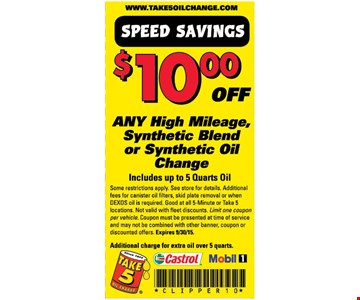 $10 off Synthetic Oil Change