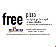 Free pizza. Buy 1 pizza, get 2nd of equalor lesser value free. Dine in or carry-out (drink purchase required on dine in). With this coupon. Not valid with other offers. One coupon per table. Offer expires 7/3/15.