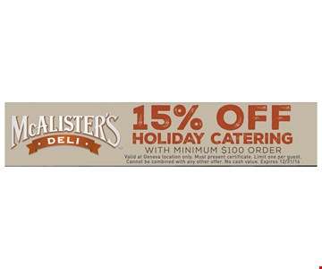 15% off holiday catering