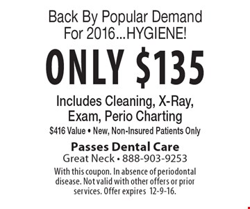 Back By Popular Demand For 2016...HYGIENE! Only $135 Includes Cleaning, X-Ray, Exam, Perio Charting $416 Value - New, Non-Insured Patients Only. With this coupon. In absence of periodontal disease. Not valid with other offers or prior services. Offer expires12-9-16.