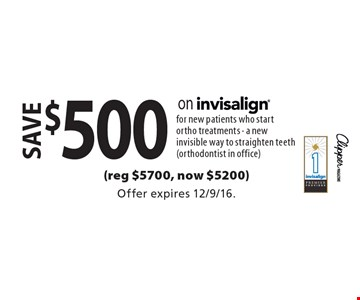 save $500 on invisalign for new patients who start ortho treatments - a new invisible way to straighten teeth (orthodontist in office)(reg $5700, now $5200). Offer expires 12/9/16.