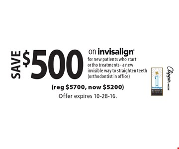 save $500 on invisalign for new patients who start ortho treatments - a new invisible way to straighten teeth (orthodontist in office)(reg $5700, now $5200). Offer expires 10-28-16.