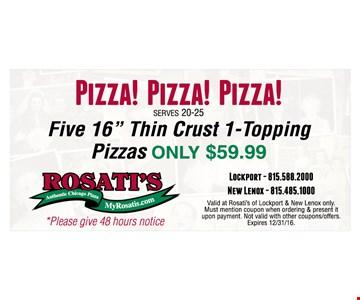 $59.99 5 pizzas