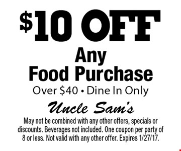 $10 off any food purchase over $40. Dine in only. May not be combined with any other offers, specials or discounts. Beverages not included. One coupon per party of 8 or less. Not valid with any other offer. Expires 1/27/17.