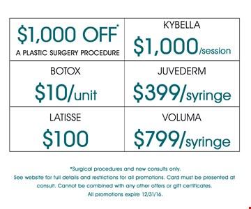 $1,000 OFF a plastic surgery procedure. Kybella $1,000/session. Botox $10/unit. Juvederm $399/syringe. Latisse $100. Voluma $799/syringe. Offer expires 12-31-16.