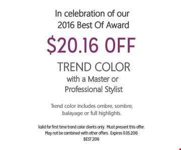 $20.16 Off TRend Color