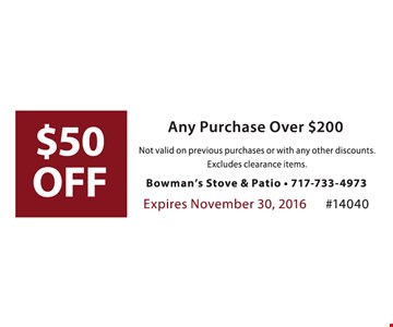 $50 off any purchase over $200. Not valid on previous purchases or with any other discounts. Excludes clearance items. Expires 11-30-16. #14040