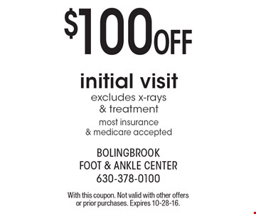 $100 Off initial visit, excludes x-rays & treatment, most insurance & medicare accepted. With this coupon. Not valid with other offers or prior purchases. Expires 10-28-16.