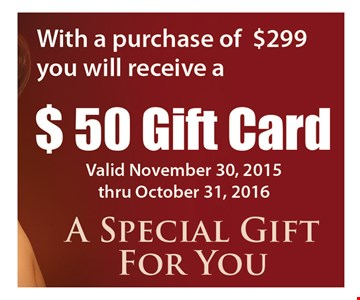 With Purchase Of $299 Or More