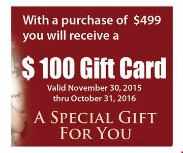 With Purchase Of $499 Or More