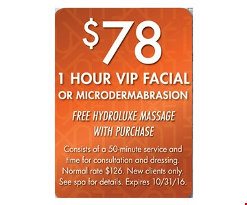 $78 1-Hour VIP Facial or Microdermabrasion