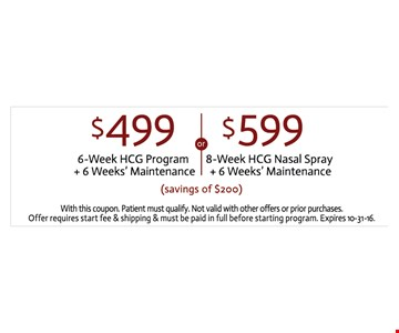 6-week program for $499 or 8-week for $599