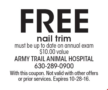 FREE nail trim must be up to date on annual exam, $10.00 value. With this coupon. Not valid with other offers or prior services. Expires 10-28-16.