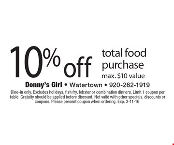 10% off total food purchase max. $10 value. Dine-in only. Excludes holidays, fish fry, lobster or combination dinners. Limit 1 coupon per table. Gratuity should be applied before discount. Not valid with other specials, discounts or coupons. Please present coupon when ordering. Exp. 3-11-16.