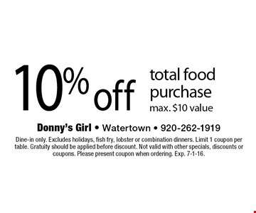 10% off total food purchase max. $10 value. Dine-in only. Excludes holidays, fish fry, lobster or combination dinners. Limit 1 coupon per table. Gratuity should be applied before discount. Not valid with other specials, discounts or coupons. Please present coupon when ordering. Exp. 7-1-16.