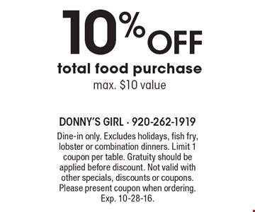 10% Off total food purchase max. $10 value. Dine-in only. Excludes holidays, fish fry, lobster or combination dinners. Limit 1 coupon per table. Gratuity should be applied before discount. Not valid with other specials, discounts or coupons. Please present coupon when ordering. Exp. 10-28-16.