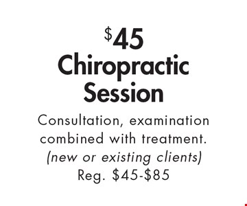 $45 Chiropractic Session. Consultation, examination combined with treatment (new or existing clients) Reg. $45-$85. With this ad. Valid at Village Health Wellness Spa Marietta only. Not valid with other offers. Exp. 2/3/17.