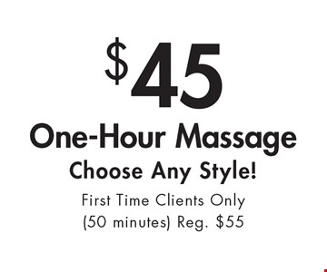 $45 One-Hour Massage. Choose Any Style! First Time Clients Only (50 minutes) Reg. $55. With this ad. Valid at Village Health Wellness Spa Marietta only. Not valid with other offers. Exp. 2/3/17.