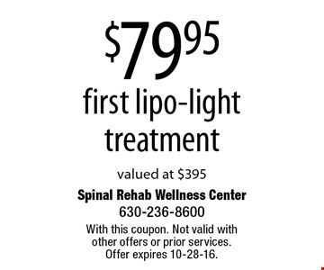 $79.95 first lipo-light treatment. Valued at $395. With this coupon. Not valid with other offers or prior services. Offer expires 10-28-16.