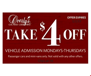 Take $4 off vehicle admission Mon.-Thurs. Passenger cars and mini-vans only. Not valid with any other offers. Offer expires 1/1/17. ClipLat-16.