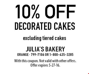 10% off Decorated cakes excluding tiered cakes. With this coupon. Not valid with other offers. Offer expires 5-27-16.