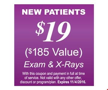 $19 exam and x-rays