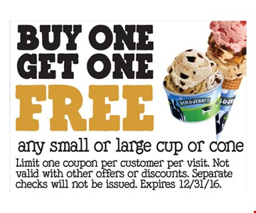 buy one get one free any small or large cup or cone