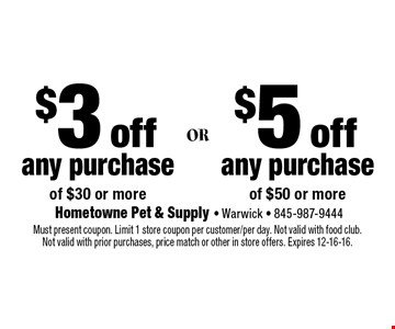 $3 off any purchase of $30 or more or $5 off any purchase of $50 or more. Must present coupon. Limit 1 store coupon per customer/per day. Not valid with food club. Not valid with prior purchases, price match or other in store offers. Expires 12-16-16.