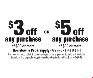 $3 off any purchase of $30 or more or $5 off any purchase of $50 or more. Must present coupon. Limit 1 store coupon per customer/per day. Not valid with food club. Not valid with prior purchases, price match or other in store offers. Expires 1-20-17.