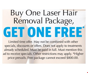 Free hair removal package. Buy one, get one free.