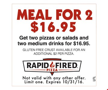 Meal for 2 for $16.95.