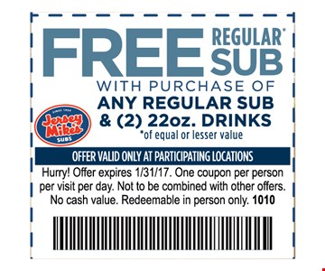 Free Regular Sub With purchase of Any Regular  Sub & (2) 22oz Drinks